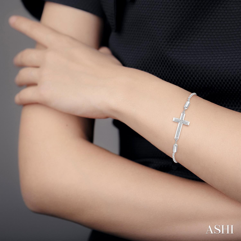 Silver Cross Lariat Diamond Bracelet