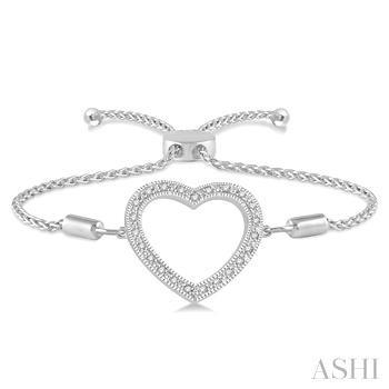 Silver Heart Shape Lariat Diamond Bracelet