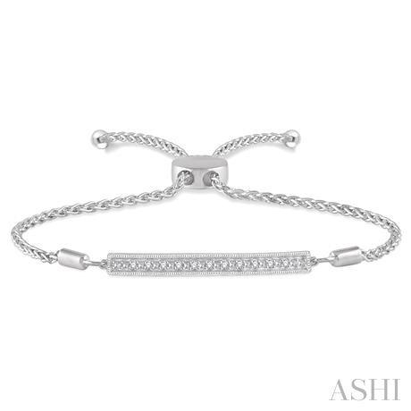 Silver Bar Lariat Diamond Bracelet