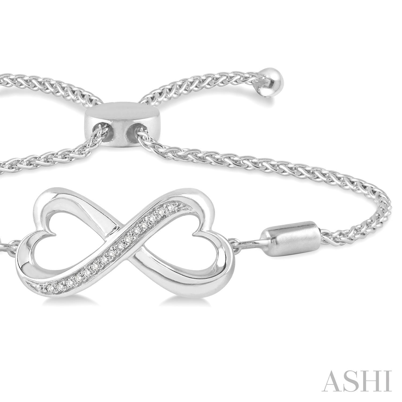 Silver Heart Shape Infinity Lariat Diamond Bracelet