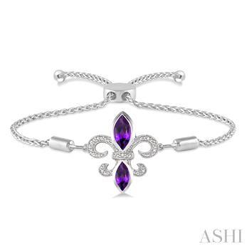 Silver Fleur De Lis Diamond & Gemstone Fleur De Lis Lariat Bracelet
