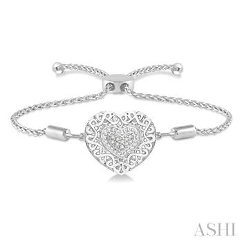 Silver Puff Heart Shape Lariat Diamond Bracelet