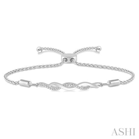 Silver Infinity Swirl Lariat Diamond Bracelet