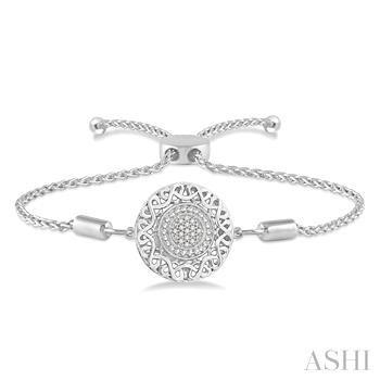 Silver Puff Circle Lariat Diamond Bracelet