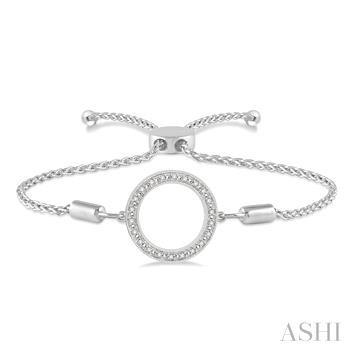Silver Circle Lariat Diamond Bracelet