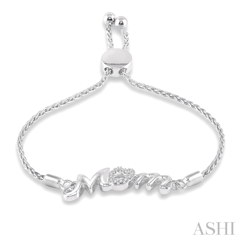 Silver Mom Lariat Diamond Bracelet
