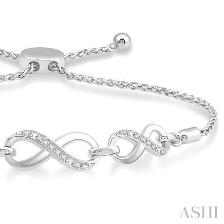 Silver Infinity Lariat Diamond Bracelet