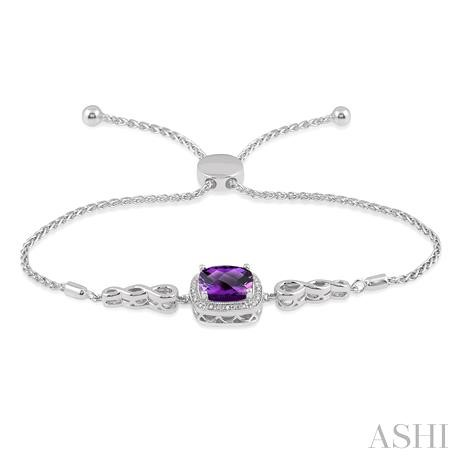 Silver Diamond & Gemstone Lariat Bracelet