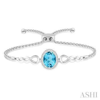 Oval Shape Silver Diamond & Gemstone Lariat Bracelet