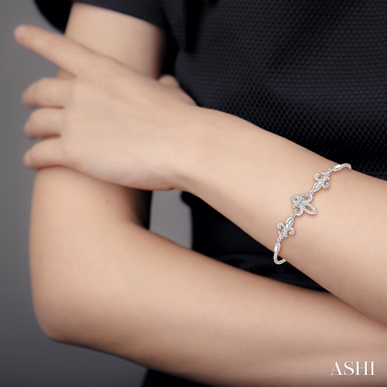 Silver Fleur De Lis Lariat Diamond Bracelet