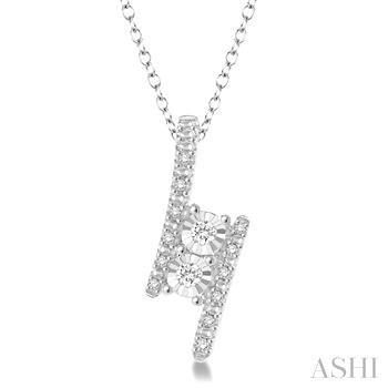 Silver 2Stone Diamond Pendant