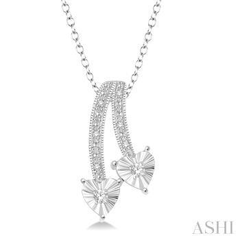 Silver 2Stone Heart Shape Diamond Pendant