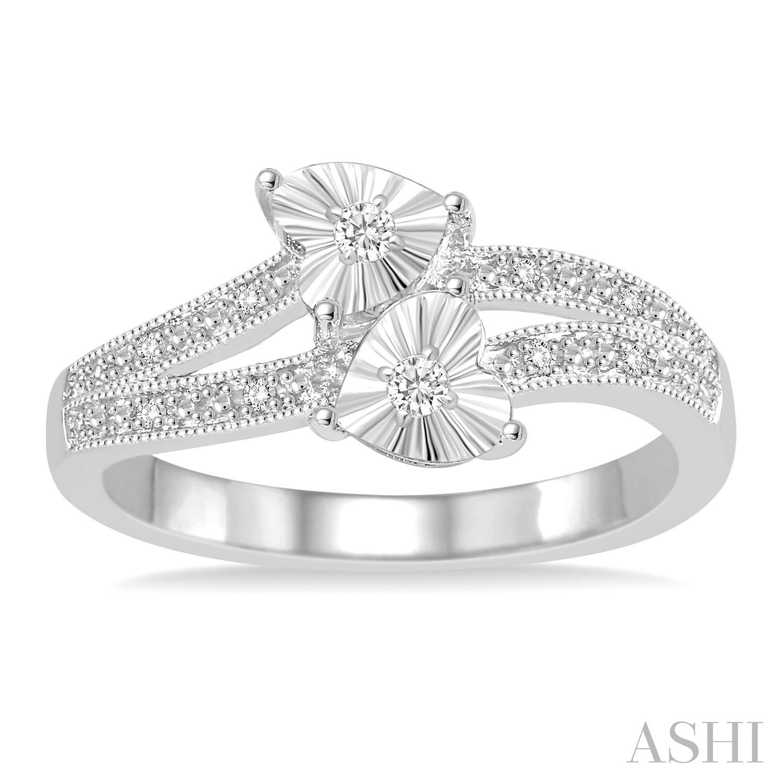 Silver 2Stone Heart Shape Diamond Ring