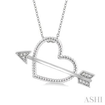 Heart Shape Silver Diamond Pendant