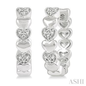 Heart Shape Silver Diamond Earrings