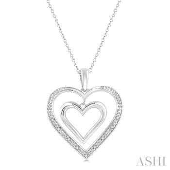 Silver Diamond Twin Heart Pendant