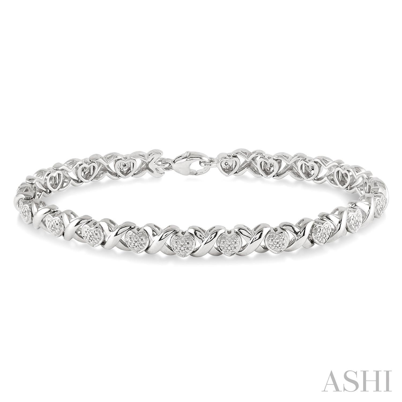 Silver Heart Shape Diamond Bracelet