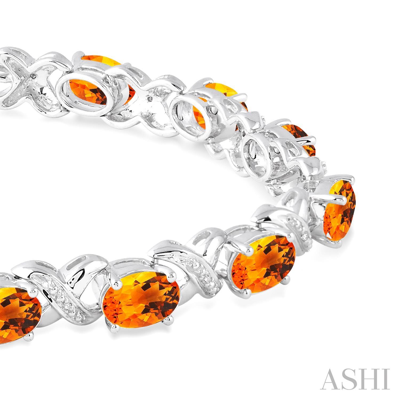 Oval Shape Silver Gemstone & Diamond Bracelet