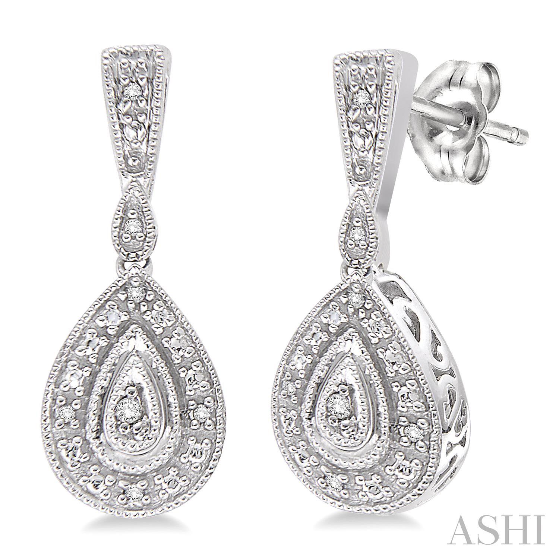 Pear Shape Silver Diamond Earrings