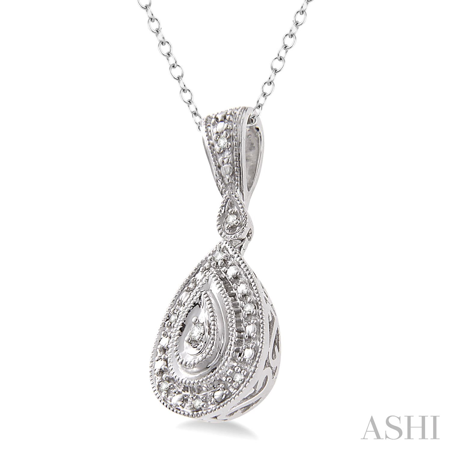 Pear Shape Silver Diamond Pendant