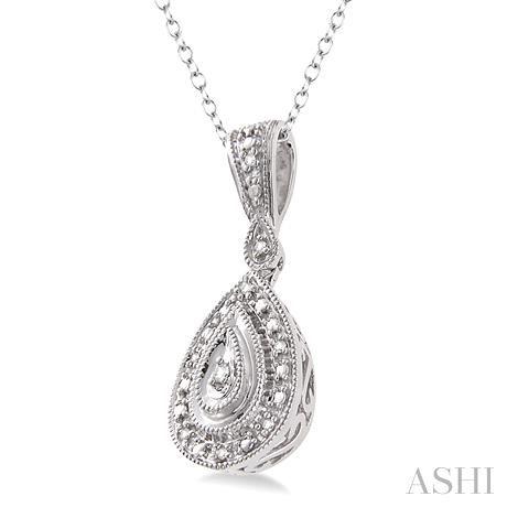 Pear Shape Silver Diamond Pendant