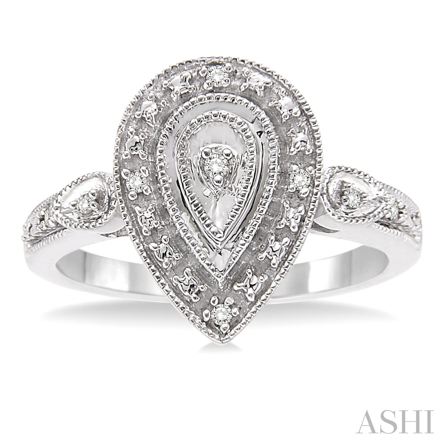 Pear Shape Silver Diamond Ring