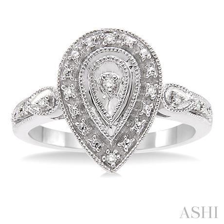 Pear Shape Silver Diamond Ring