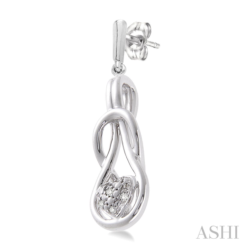 Silver Infinity Heart Shape Diamond Earrings