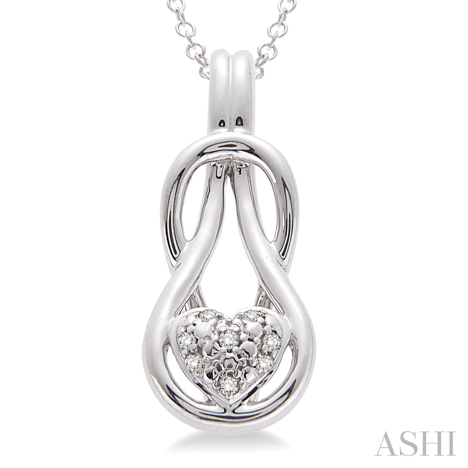 Silver Infinity Heart Shape Diamond Pendant