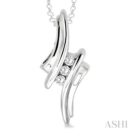 Silver Channel Set Diamond Pendant