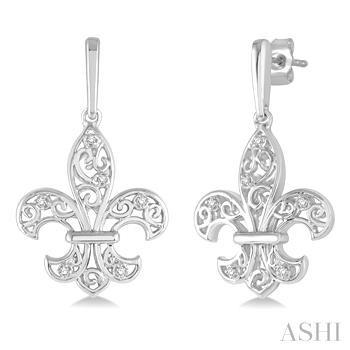 Silver Fleur De Lis Diamond Earrings
