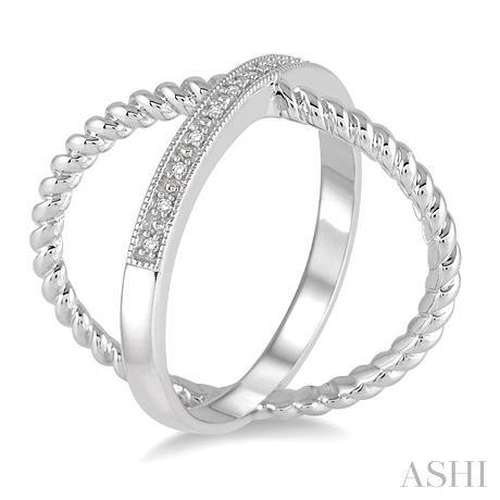 'X' Shape Silver Diamond Ring
