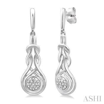 Silver Love Knot Diamond Earrings