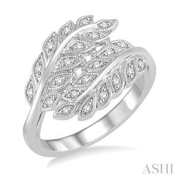 Silver Leaf Diamond Ring