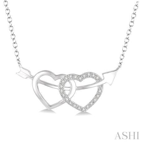 Silver Twin Heart Shape Arrow Diamond Pendant