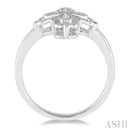 Silver Cross Diamond Ring