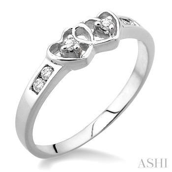 Silver 2Stone Twin Heart Shape Diamond Ring