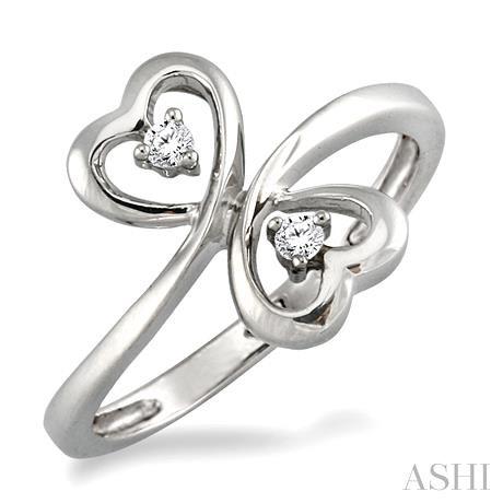 SILVER 2STONE HEART DIAMOND RING