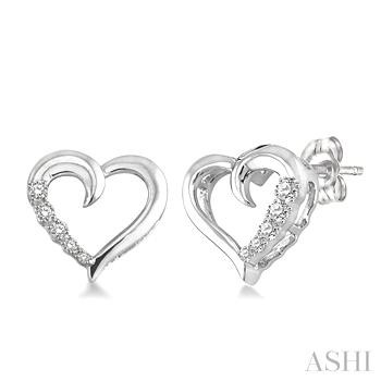 SILVER JOURNEY HEART SHAPE DIAMOND EARRINGS