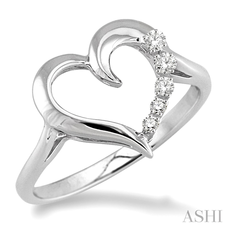 Silver Journey Heart Shape Diamond Ring