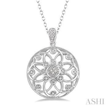 Silver Medallion Diamond Pendant