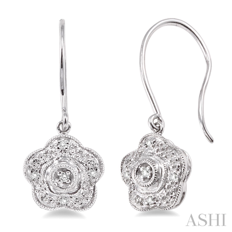 Flower Shape Silver Diamond Earrings