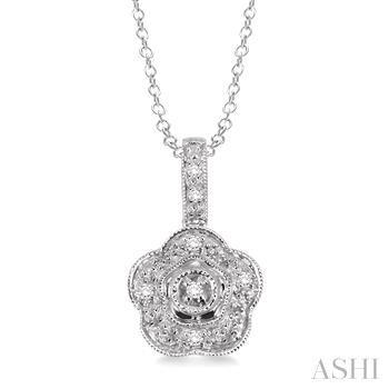 Flower Shape Silver Diamond Pendant