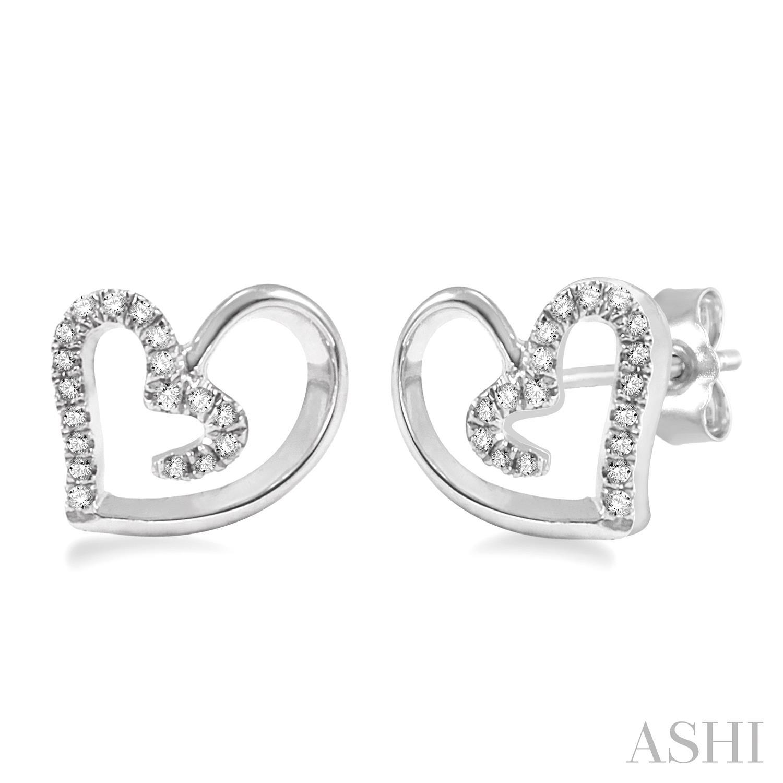 Silver Heart Shape Diamond Earrings