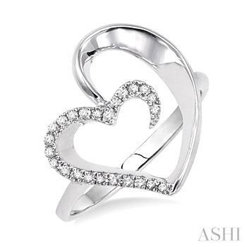 Silver Heart Shape Diamond Ring