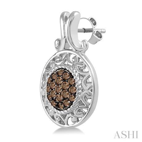 Oval Shape Silver Champagne Diamond Earrings