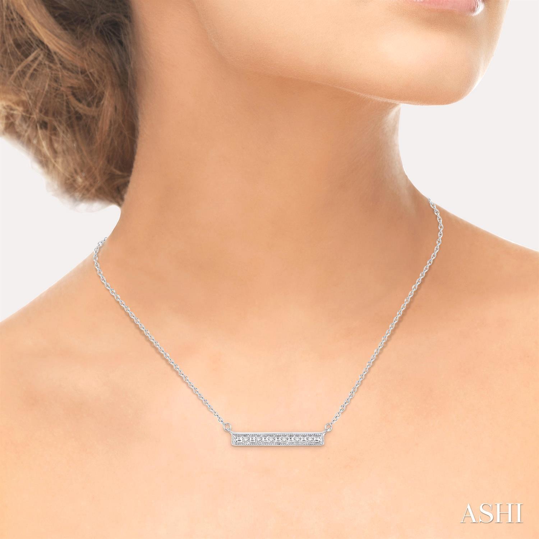 Silver Bar Diamond Pendant