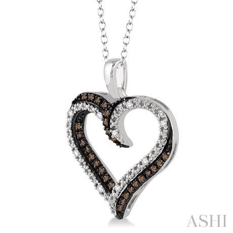 Silver Heart Shape Champagne Diamond Pendant