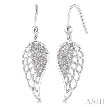 Silver Angel Wing Diamond Earrings