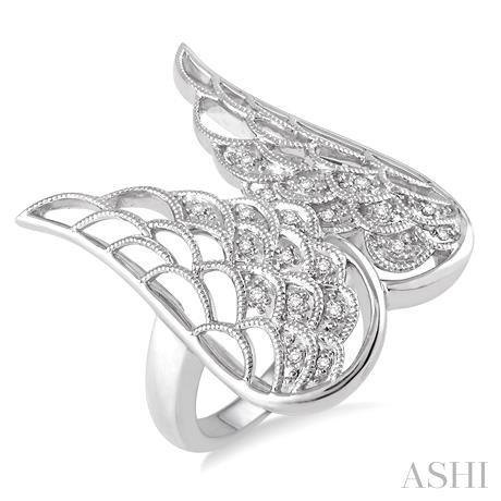 Silver Angel Wing Diamond Ring
